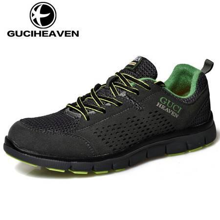 古奇天伦5728透气男鞋夏季网鞋运动系带男士镂空休闲布鞋子韩版网面鞋