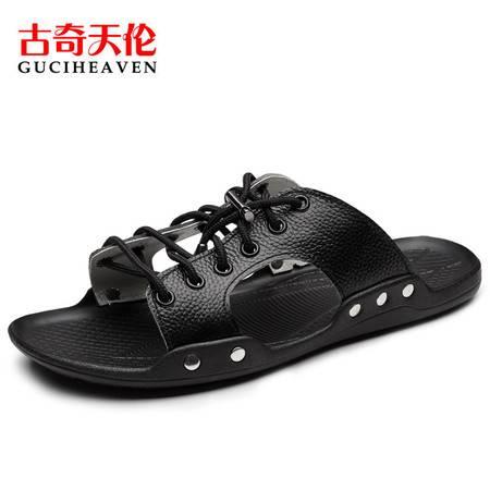 古奇天伦个性一字拖鞋男6813夏季新款真皮防滑沙滩拖鞋子凉拖鞋潮