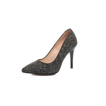 玛丽兰夏季高跟单鞋尖头亮片时尚舒适女鞋