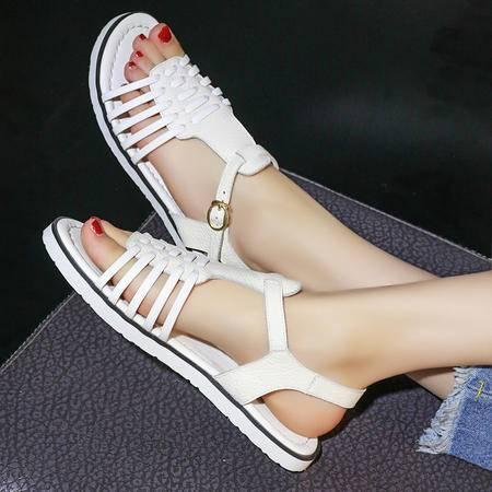 玛丽兰夏季平底单鞋头层牛皮时尚舒适凉鞋
