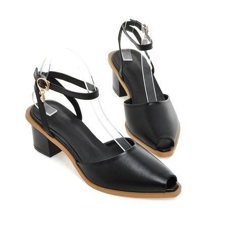 玛丽兰夏季单鞋粗跟金属漆皮时尚舒适凉鞋