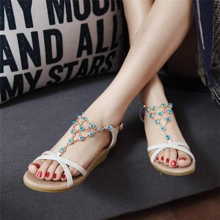 玛丽兰夏季单鞋坡跟头层牛皮舒适柔软透气时尚舒适凉鞋