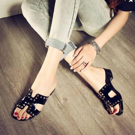 玛丽兰夏季单鞋优质牛漆皮舒适柔软透气时尚舒适拖鞋