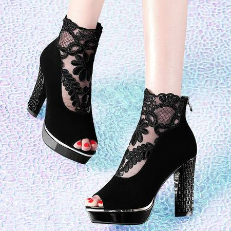 古奇天伦网纱凉鞋8157春季新款蕾丝高跟鞋粗跟鞋子鱼嘴鞋女鞋英伦