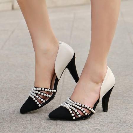 玛丽兰夏季高跟单鞋头层牛皮柔软透气时尚舒适欧美凉鞋
