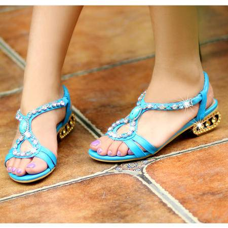 玛丽兰夏季单鞋头层牛皮彩钻时尚舒适凉鞋