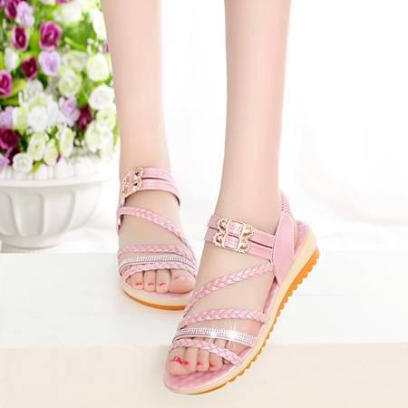 玛丽兰夏季单鞋欧美韩版pu时尚舒适凉鞋