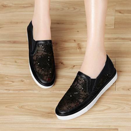 夏季新款真皮白鞋平底鞋镂空女鞋透气1161单鞋浅口百搭黑色休闲鞋