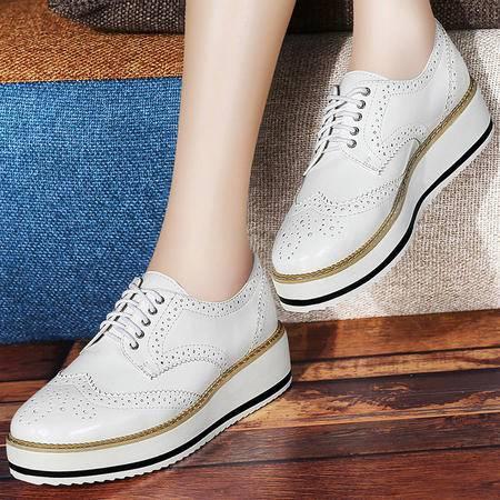 百年纪念松糕厚底单鞋雕花布洛克女鞋1074夏季新品平底透气鞋子