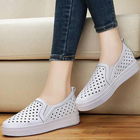 百年纪念镂空圆头鞋子1164夏季新款英伦风单鞋平底休闲鞋厚底女鞋