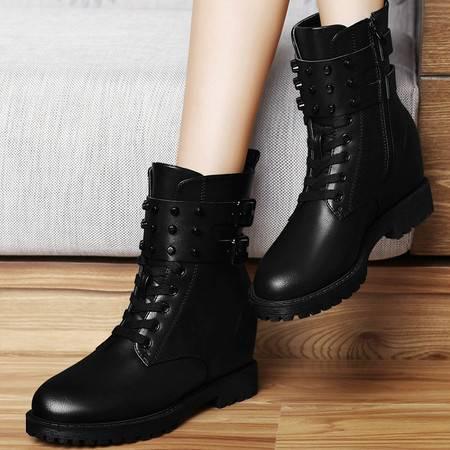 1089秋冬季新款女靴内增高短靴英伦马丁靴侧拉链韩版女鞋及裸靴