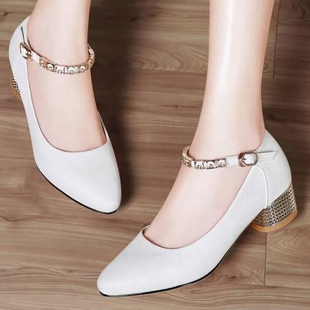 中跟尖头单鞋女8484秋季新款浅口一字扣水钻粗跟女鞋包头春秋鞋子