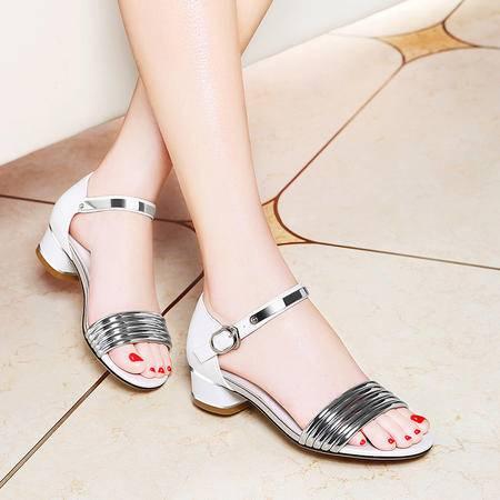 莱卡金顿粗跟凉鞋女士夏季2016新款欧美百搭性感露趾显瘦中跟女鞋