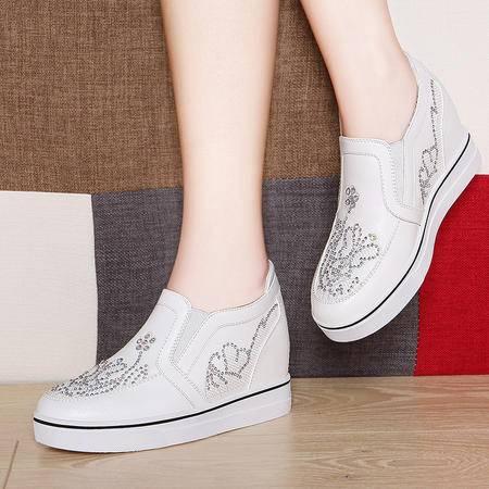 莱卡金顿内增高单鞋6090秋新款套脚乐福鞋小白鞋女运动休闲女鞋子