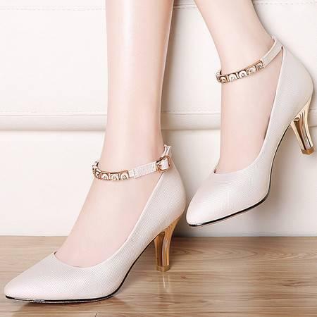 细跟高跟鞋尖头性感一字扣雅诗莱雅3114秋季新款单鞋百搭裸色甜美