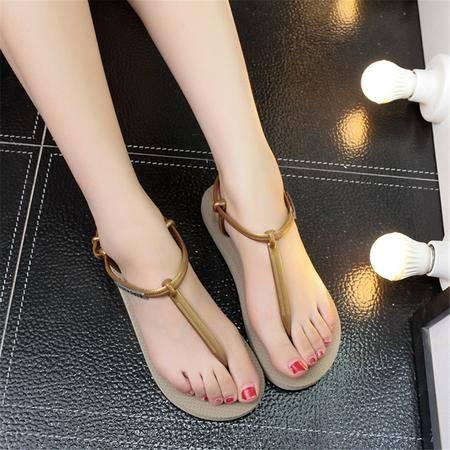 玛丽兰夏季凉鞋平跟扣带休闲罗马鞋