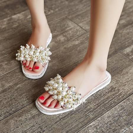玛丽兰夏季拖鞋平底方头简约时尚珍珠亮钻休闲女凉鞋