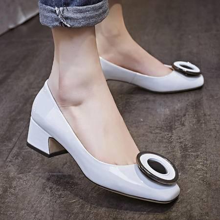 玛丽兰春秋单鞋低跟休闲百搭时尚漆皮女鞋