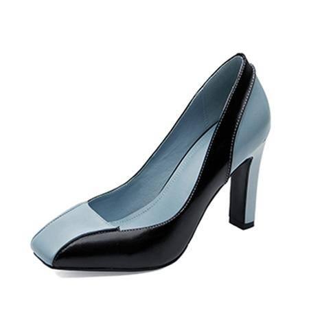 欧美高贵气质时尚款 简约百搭 浅口单鞋2016时尚真皮珠光面料 金属跟尖头单鞋