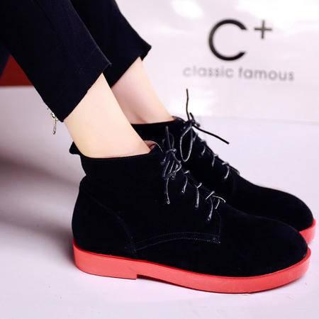 玛丽兰秋冬短靴平底圆头系带时尚女靴