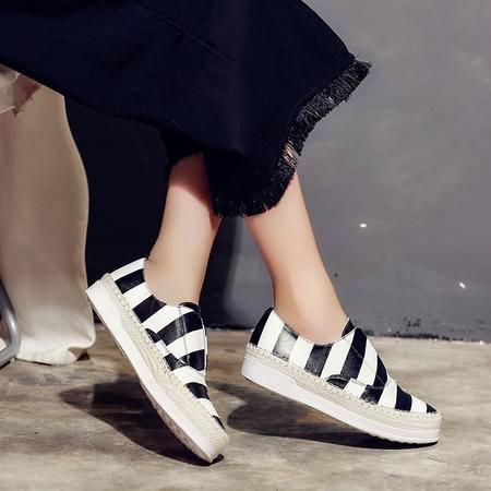 玛丽兰夏季休闲鞋平底条纹百搭单鞋