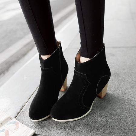 玛丽兰秋冬季女靴粗跟圆头纯色百搭短靴