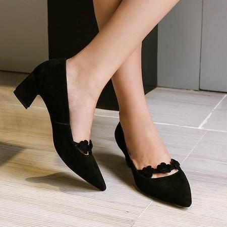玛丽兰夏季单鞋中跟尖头套脚女鞋