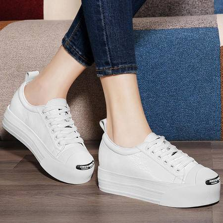 古奇天伦韩版女鞋平底单鞋8475秋季新款真皮鞋子休闲鞋圆头低帮鞋