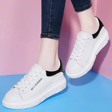 古奇天伦韩版女鞋真皮鞋子8480秋季新款平底休闲鞋单鞋时尚小白鞋
