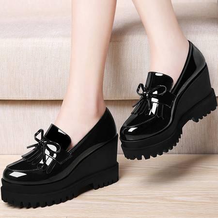 古奇天伦厚底坡跟单鞋8457夏季新款韩版松糕休闲女鞋高跟春秋鞋子