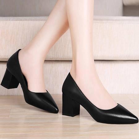百年纪念真皮鞋子时尚尖头高跟鞋1228秋季英伦新款粗跟浅口单鞋女