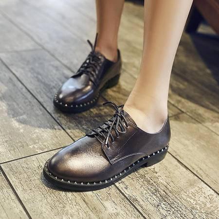 玛丽兰夏季皮鞋时尚舒适透气系带单鞋