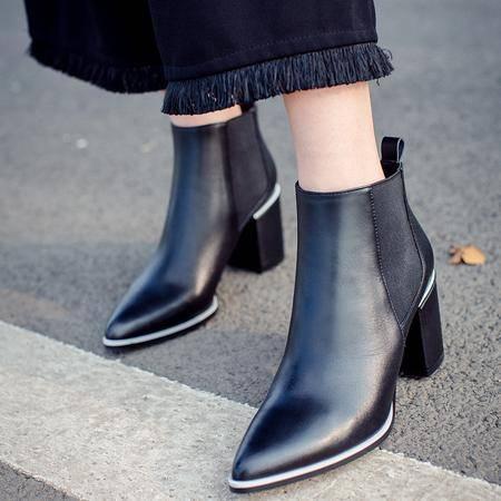 玛丽兰秋冬短靴粗跟时尚尖头女靴