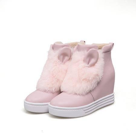 玛丽兰秋冬内增高单鞋韩版珠光纯色獭兔真毛女鞋