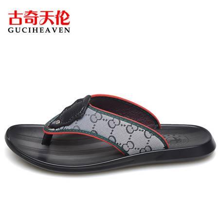 古奇天伦C6Z0028夏季人字拖沙滩鞋厚底防滑凉拖个性夹脚男士英伦潮流拖鞋