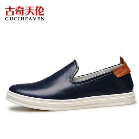 古奇天伦A6Y006英伦男士运动休闲套脚鞋子时尚潮流真皮板鞋男鞋