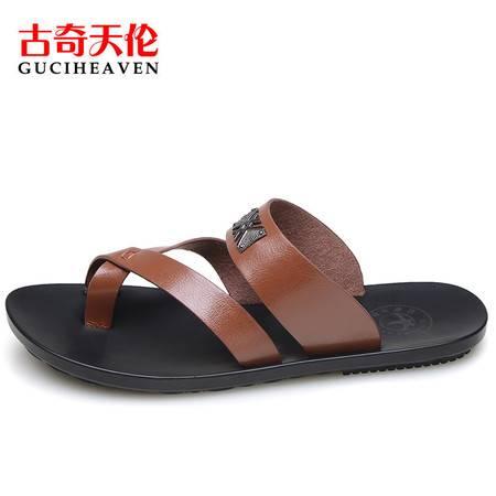 古奇天伦C6Z0029夏季拖鞋韩版室内防滑厚底日常休闲简约夹趾男鞋子潮