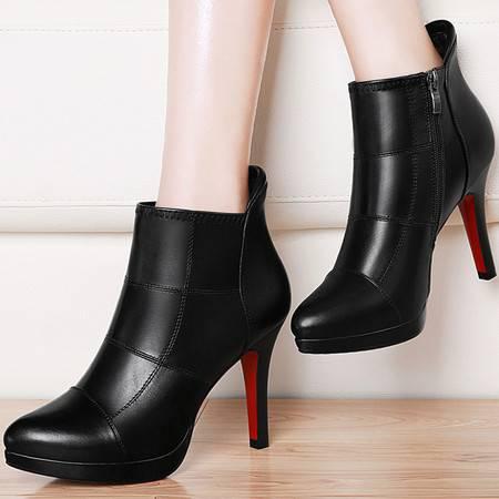 古奇天伦短筒靴子英伦风马丁靴8463秋季新款高跟短靴细跟女靴秋款