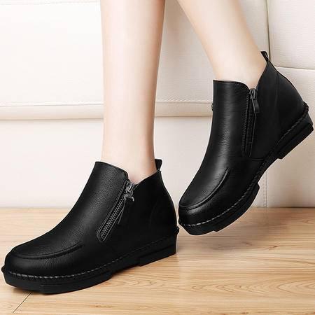 古奇天伦英伦风马丁靴短筒靴子8499秋季新款平底时尚女靴秋款百搭