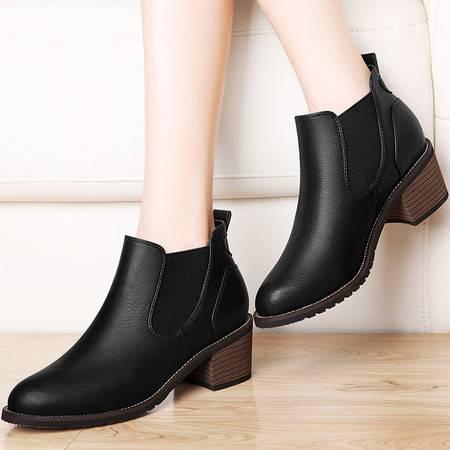 古奇天伦切尔西靴英伦马丁靴8493秋季新款短筒靴子粗跟女靴秋款潮
