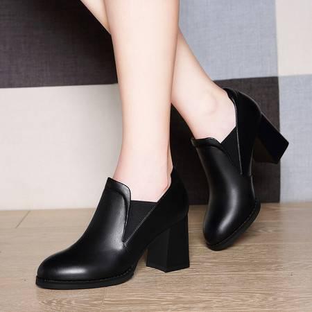 莱卡金顿6097松糕厚底内增高单鞋女高跟潮休闲女鞋英伦皮鞋秋新款