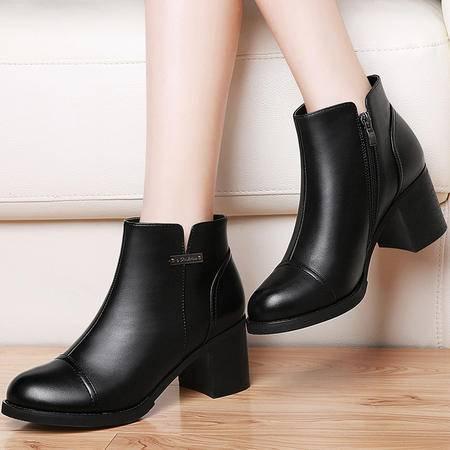 雅诗莱雅 雅诗莱雅3105短靴女春秋新款单靴粗跟女靴子中跟高跟鞋冬百搭女鞋