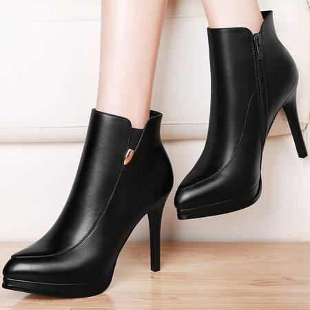 百年纪念 百年纪念1222真皮靴子短筒女靴秋季新款高跟短靴英伦风马丁靴秋款