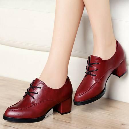 古奇天伦粗跟单鞋8139秋季新款英伦风中跟高跟鞋深口皮鞋秋款女鞋