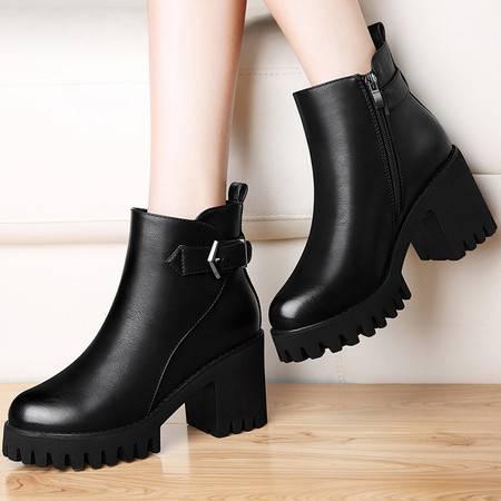 古奇天伦 古奇天伦8506短筒英伦风马丁靴女秋冬季新款短靴粗跟靴子高跟女鞋
