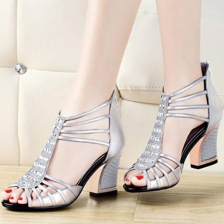 古奇天伦鱼嘴中跟凉鞋8010夏季新款时尚水钻粗跟高跟鞋夏天女鞋子