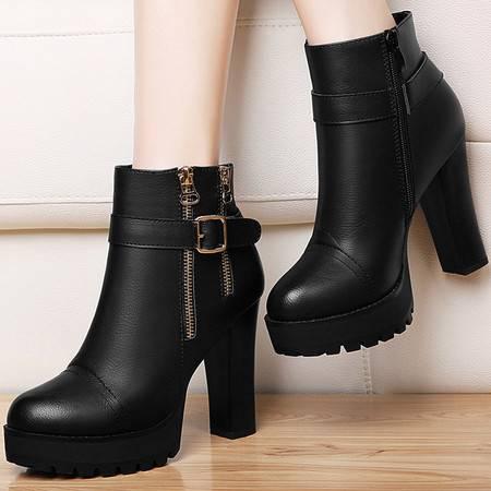 古奇天伦8494短筒靴子英伦风马丁靴冬季新款高跟短靴粗跟女靴女鞋
