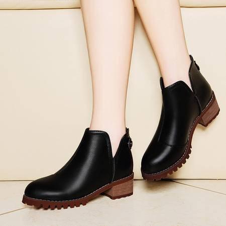 莱卡金顿6125秋季圆头后拉链女靴纯色粗跟女短靴中跟防水台女鞋