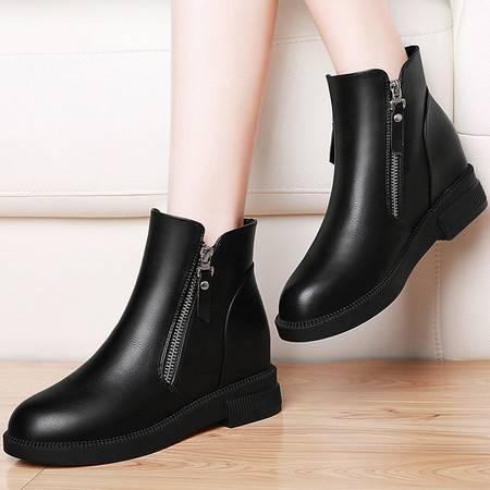 3101内增高短靴平底马丁靴女英伦风秋季女鞋潮春秋单靴新款女靴子