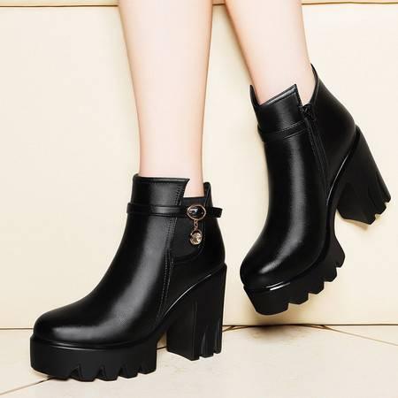 莱卡金顿6124圆头纯色女靴子粗跟侧拉链短靴 防水台女鞋子高帮靴